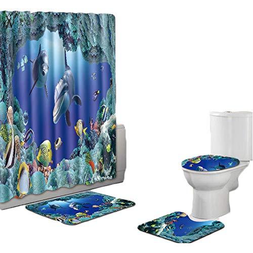 Sodhue Weiche Badteppich-Set 4-teilig Badvorleger Badteppich WC Vorleger Badematte rutschfest Duschvorhang+rutschfeste Teppichdee+Deel Toilettenabdeung+Badematte