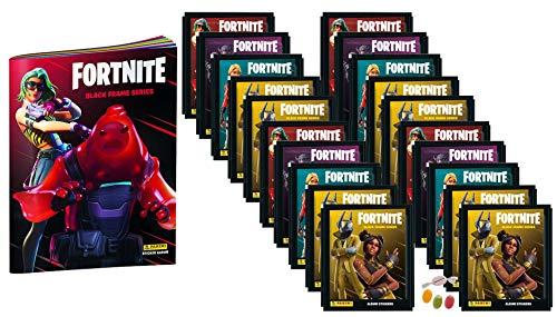 Panini F.ortnite Black Frame Sticker Serie (2020) - 1x Sammelalbum + 20 Tüten zusätzlich erhalten Sie 1 x Fruchtmix Sticker-und-co Bonbon