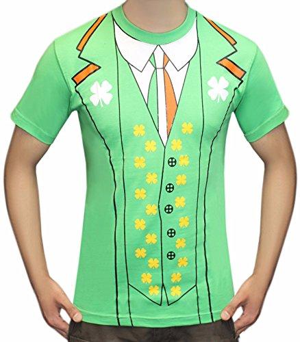 Ierse klaver groene Leprechaun pak Tie Tuxedo T-Shirt Top St Patricks Small-XXL