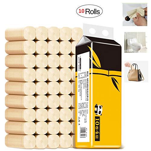 Toiletpapier 10 rollen, Milieuvriendelijk papieren handdoeken Natural Ultra Soft Skin-Friendly toiletpapier Biologisch afbreekbaar