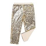 MSemis Leggins Brillantes para Niñas Pantalones con Lentejuelas Leggings Largos Longitud del Cubo Pantalones Midi Cintura Elástica Ropa Fiesta Baile Actuación Dorado 4 Años
