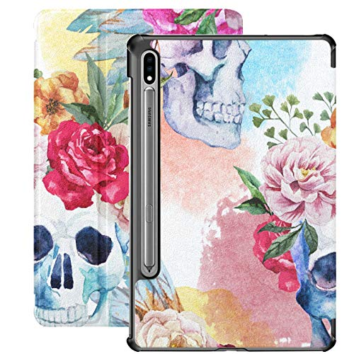 Acuarela Flower Peony Pen Boho Skull Galaxy S7 Plus Funda para Tableta para Samsung Galaxy Tab S7 / s7 Plus Funda Galaxy S7 Soporte Funda para Tableta 7 Pulgadas