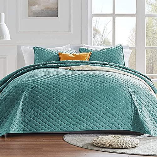SLEEP ZONE Premium Steppdecken-Set mit Kissenbezügen – 120 g/m² Stoff genähtes Rautenmuster Bettwäsche-Set – weiche & leichte Mikrofaser-Tagesdecken-Set für alle Jahreszeiten, Blaugrün