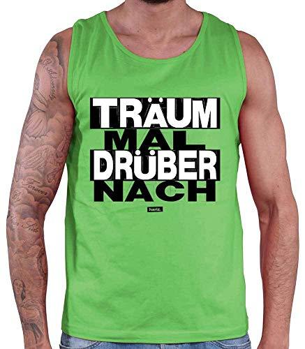 Camiseta de tirantes para hombre de Hariz, con texto 'Träum Mal Drüber nach Sprüch', en blanco y negro, con tarjeta de regalo Color verde. XXL