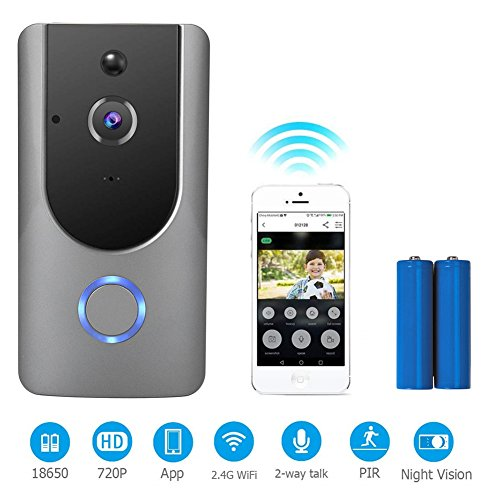 Video Doorbell,Mucjun Wifi Smart Door Bells,720p HD Door Chimes Camera with 2 Batteries,180° Wide Angle Lens Two-Way Audio & Night Vision,PIR Motion Detection Alerts Wireless Doorbells for IOS Android