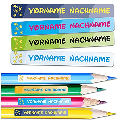 80 adesivi con nome a scelta, 3,5 x 1 cm, con nome per bambini, per la scuola, l'asilo, l'abbigliamento (n. 16 stelle, per superfici strette