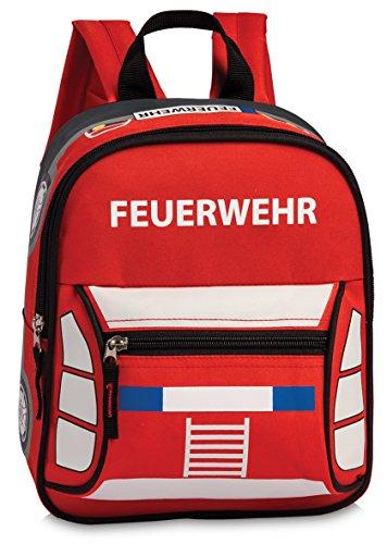 Fabrizio Feuerwehrrucksack Rucksack Kindergartenrucksack Jungen Mädchen, 26 x 22 x 9,5 cm, rot
