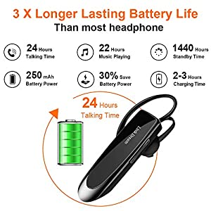Link Dream Bluetooth Earpiece for Cell Phone Hands Free Wireless Headset Noise Cancelling Mic 24Hrs Talking 1440Hrs Standby Compatible with iPhone Samsung Android for Driver Trucker (2 Pack)