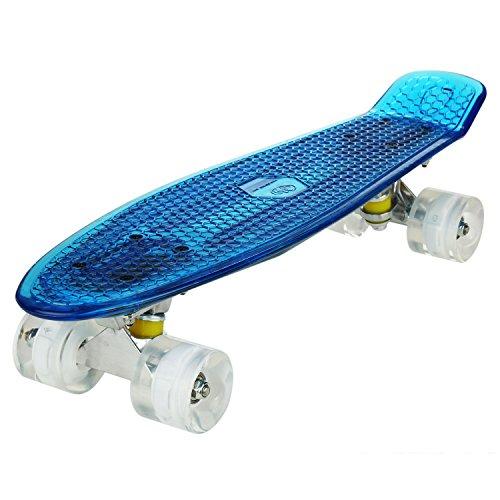 WeSkate Cruiser - Monopatín completo con mini monopatín, 22 pulgadas, 55 cm, Penny Board con ruedas de poliuretano LED, rodamientos ABEC-7, regalo para adultos, adolescentes y niños, Blu+Bianco