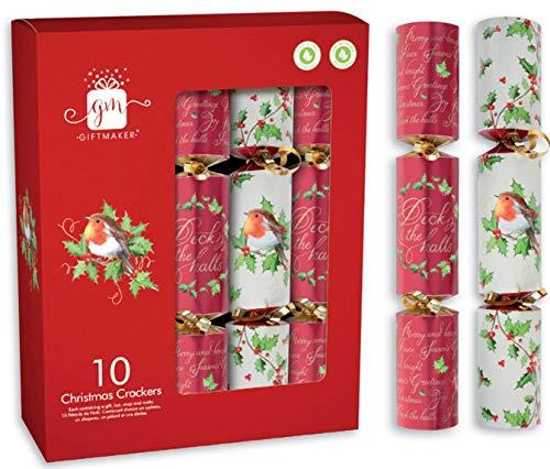 """(Packung 10) Traditionell 11"""" Festliche Knallbonbon Verschiedene Designs Umweltfreundlich - Rot & Weiß Robin"""