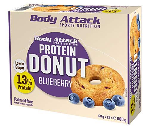 Body Attack Protein Donut, Arándanos (15 x 60g) Caja,13% de proteína de huevo y proteína de suero de buena calidad, vegetariano, bajo en azúcar, alternativa perfecta a las galletas convencionales