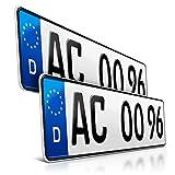 schildEVO 2 Kfz Kennzeichen | 460 x 110 mm | DIN-Zertifiziert – EU Wunschkennzeichen mit individueller Prägung | PKW Nummernschilder | Kurze Autokennzeichen...
