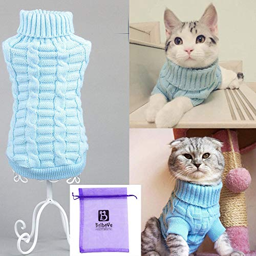 Bolbove Bro'Bear Cable Knit Turtleneck Sweater for Small Dogs & Cats Knitwear (Blue, Small)