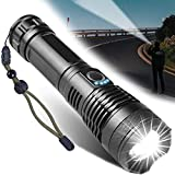 Rechargeable LED Flashlight, Super Bright Tactical Flashlights, 10000 High Lumens Flashlights, 5 Modes Zoomable Flashlights,Waterproof Flashlight,for Camping, Outdoor Activities and Emergencies