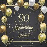 90. Geburtstag Gästebuch: Mit 100 Seiten zum Eintragen von Glückwünschen, Fotos, Anekdoten und herzlichen Botschaften der Geburtstagsgäste - Schöne ... ca. 21 x 21 cm, Cover: Goldene Luftballons