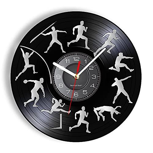 Decathlon Sport Vinyl High Jump Reloj de pared Largo Obstáculo Dartando láser grabado Deporte Reloj de pared Arte Atleta Regalo