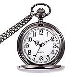 Reloj de Bolsillo para Hombre con Cadena, Colgante de Cuarzo Relojes de Bolsillo para papá/Abuelo como Regalo Retro para el día del Padre, cumpleaños, Aniversario, Navidad (Negro)