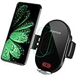 steanum Caricatore Wireless Auto, Induzione ad Infrarossi (Interruttore Automatico) Qi Ricarica Rapida Wireless Auto per iPhone 11 PRO Max/XS Max/XR/X/8/8Plus,Galaxy S10/S9/S8/S7/S6, Note 5/8/9,Nero