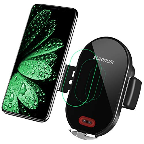 steanum Wireless Charger Auto, Qi Ladestation Auto Infrarot Induction KFZ handyhalter Auto mit ladefunktion für iPhone 11 Pro Max/Xs Max/XR/X/8 8Plus, Galaxy S10/9/8/7/6, Note 5/8/9, Schwarz