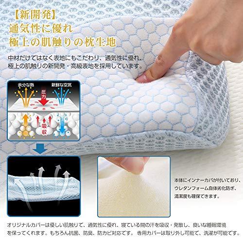 MyeFoam枕安眠肩がラク低反発まくら中空設計頭・肩をやさしく支える低反発枕仰向き横向きプレゼント洗えるブルー