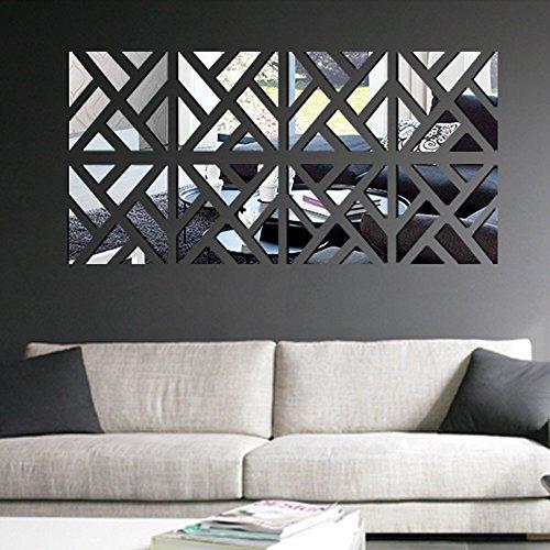 Anself Geometrico smontabile DIY 3D acrilica Specchio Adesivo Set Sticker Art Decalcomanie murale per la Decorazione Domestica 30 * 120 Centimetri