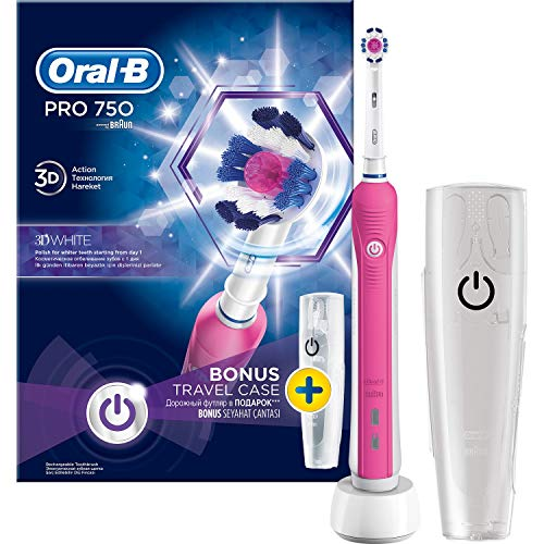 Elektrische tandenborstel Oral B Pro 750 roze met reis-etui, roze