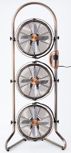 ドウシシャ pieria(ピエリア) 21cm 3連 タワー型 メタル ボックス扇風機 アロマ付き ブロンズ NBM-2381(ABM)