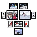 Homde Picture Frames Set of 10 Solid Wood Frames Wall Mounting or Tabletop Display Photo Frames Collage with Clear Front Includes Four 4 x 6 Inches, Four 5 x 7 Inches and Two 8 x 10 Inches Black