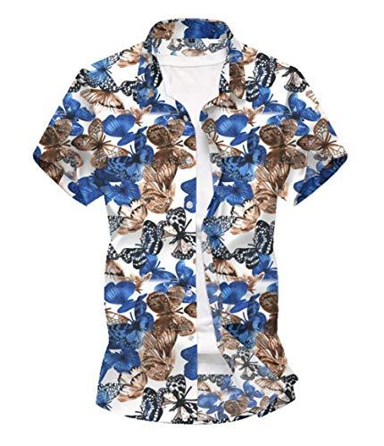 PUJIANGxian mannen werkkleding Lagen korte mouwen bedrukt shirt Slim puntige kraag Shirt Geometrische Strip Tshirt Kerstmis