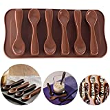 Spoon Chocolate Mold, Food Grade Silicone Cake Molds Chocolate Ice Jelly Mold Sugarcraft Icing Biscuit Decor DIY Baking Craft Tools for Hot Cocoa & Coffee Butterscotch Handmade Chocolate Stirring