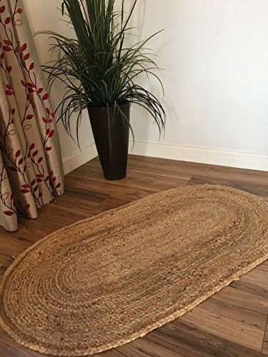 Second Nature Online Dhaka Teppich, oval, geflochten, mit natürlicher Jute, handgewebt, Jute, beige, 60 x 90 cm