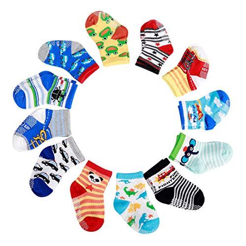 Estwell 12 Paar Baby Socken Antirutsch Kinder Rutschfeste Socken Bunt Babysocken Kleinkinder ABS Stopper Socken für Baby Jungen Mädchen