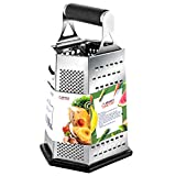 Kitchen Box Grater, Stainless Steel Cheese Grater - 6 Sides Stand...