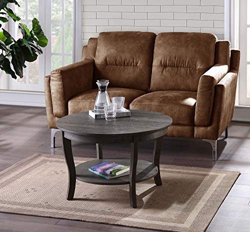 Convenience Concepts American Heritage Round Coffee Table, Dark Gray Wirebrush