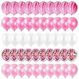 Globos Rosas 60 Piezas, Globos Rosas Cumpleaños, Globos Confeti, Decoracion Cumpleaños Niña, Globos Latex Para Cumpleaños Niña, Baby Shower, Boda, Decoraciones De Cumpleaños De Color Rosa