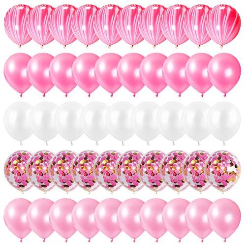 Luftballons Rosa, Rosa und Weiß Luftballons 60 Stück, Ballons Hochzeit, Luftballons mit Konfetti für Geburtstagsdeko Mädchen, Party Deko, Babyparty, Taufe Mädchen