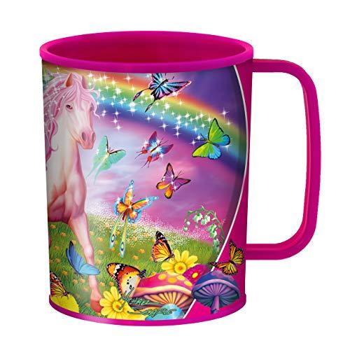 3D LiveLife Tazas originales - Pony rosa de Deluxebase. Taza de plástico de caballos 3D Lenticular de 300ml para niños, con ilustraciones originales con licencia del reconocido artista Michael Searle