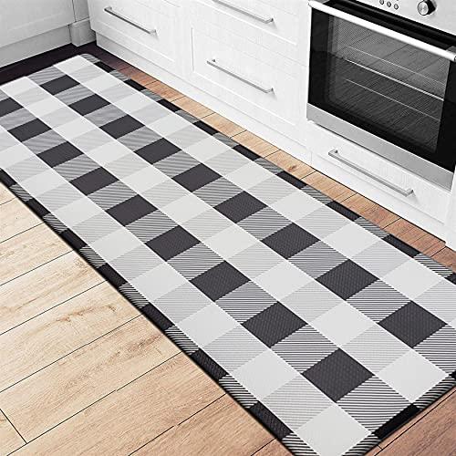 "EARTHALL Kitchen Mat Cushioned Anti-Fatigue Floor Mat, 17.3""x59"", Waterproof Non-Slip Buffalo Plaid Kitchen Rug Runner Ergonomic Comfort Standing Mat for Kitchen, Home, Office, Sink, Laundry, Desk"
