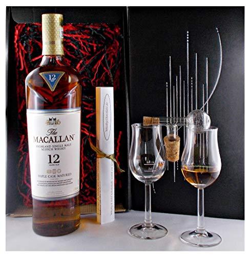 Geschenk Macallan Triple Cask 12 Jahre Single Malt Whisky + Glaskugelportionierer + 2 Whiskey Gläser