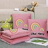 HFDXG Edredón de Aire Acondicionado Cartas Toalla Bordada Crystal Terciopelo Almohada Oficina Espesado edredón de la Almuerzo Cojín edredón de Doble Uso (Color : Pink, Size : 40x40cm)
