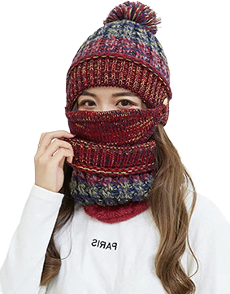 Women Winter Warm Knit Beanie Hat with Pompom Skully Hat Scarf Mask Set for Girls