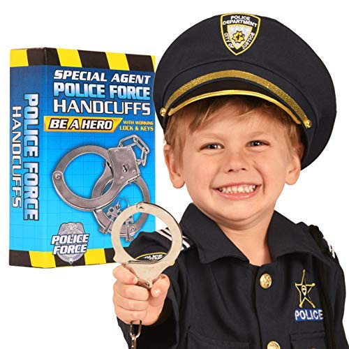 Kangaroo's Police Roleplay Handcuffs For Kids; Toy Hand Cuffs For Toddlers; Metal Handcuff with Key