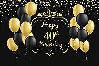 新しいハッピー40歳の誕生日の背景7x5ftブラックとゴールドのバルーンキラキラドット写真の背景40歳の老婦人女性40歳の誕生日の写真お祝い画像boothプロップデジタル壁紙