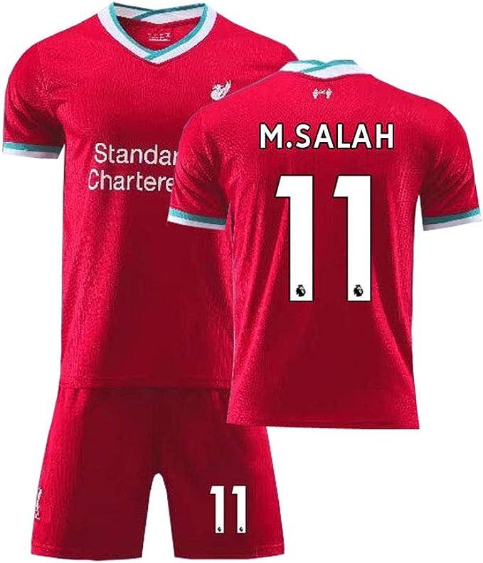 LCHENX-Set di T-Shirt da Calcio per Liverpool per Bambini Mohamed Salah # 11 Set di Magliette da Calcio Traspiranti per Il Campo di Allenamento