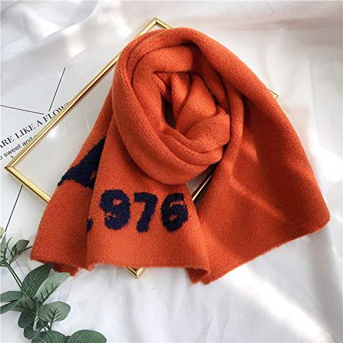 ZAMi Wollschal, Herbst und Winter, Männer und Frauen, warme, einfache Briefe, Studentenpaar, Wilder, gestrickter Schal-Orange