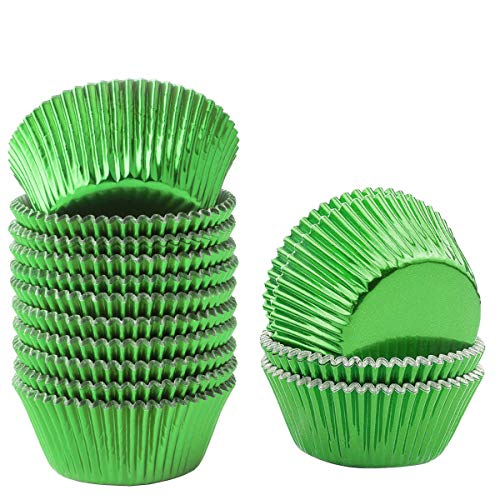Lelekiss Metallic Foil Cupcake Liners Green Standard Baking Cups Muffin Case (200 Pieces)