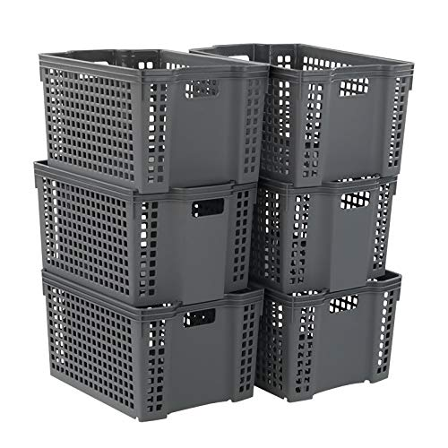 Zerdyne Cestas de almacenamiento apilables de plástico gris, paquete de 6
