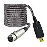 Mugteeve XLR to USB Adapter Cable, Microphone Female XLR Cord to Computer PC USB Interface Adapter, 10Feet, Nylon Braided, OFC Shield, Noise Free-for Computer Mic Recording, LiveStream Broadcast