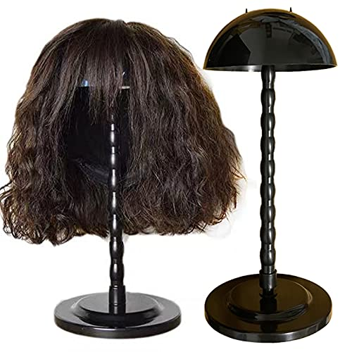 Wig Stand Wig Holder,2 Pcs Wig Stand Portable Wig Holder Hat Display Portable Travel Wig HolderStands for Multiple Wigs Head Stand Stable ( Black)