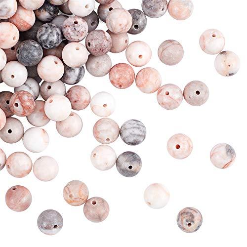 OLYCRAFT 180pcs 8.5mm Natural Pink Zebra Stein Perlen Gestreifte Jade Perlen Runde Lose Edelstein Perlen Energie Stein Für Armband Halskette Schmuckherstellung